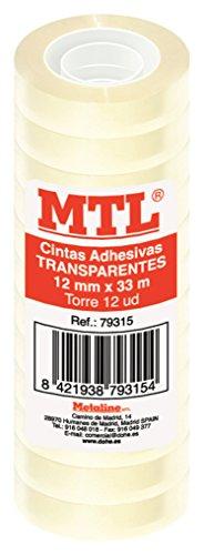 MTL 79315 - Pack de 12 cintas adhesiva, 12 mm x 33 m