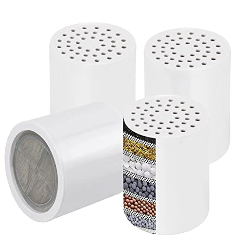 LZH FILTER Filtro Ugello Doccia Addolcitore, 4 Elementi Filtranti Ricambio per Acqua Dura, Depuratore per la Rimozione Cloro E Metalli...