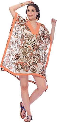 LA LEELA Damskie bikini Cover up lato sukienki plażowe moda kąpielowa sukienki pomarańczowe K669 DE rozmiar: 42 (L) - 52 (4XL)