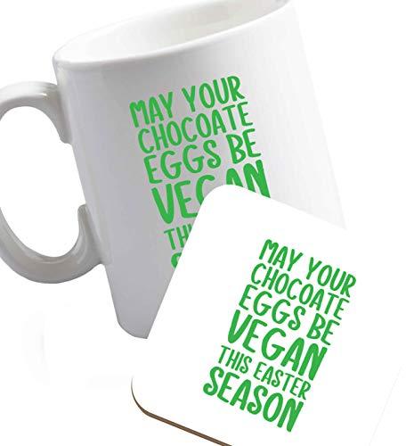 Flox Creative - Tazza in ceramica con uova di cioccolato e uova di Pasqua Sottobicchiere e tazza per mano destra (immagine rivolta fuori)