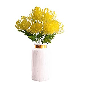 Mynse 6 Pieces Artificial Pincushion Flower Plastic Protea Flowers for Home Wedding Living Room Decoration (Yellow)
