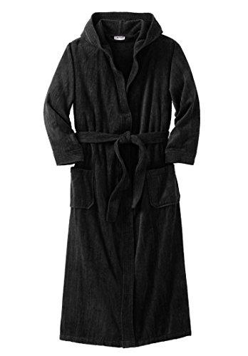 KingSize Men's Big & Tall Terry Velour Hooded Maxi Robe, Black Big-3Xl/4X