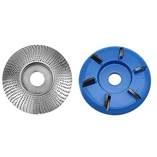Wood Tungsten Carbide Grinding Wheel Sanding Carving Tool Abrasive Disc for Angle Grinder,6 Teeth Power Wood Carving Disc Tool Milling Cutter Angle Grinder Attachment (B)
