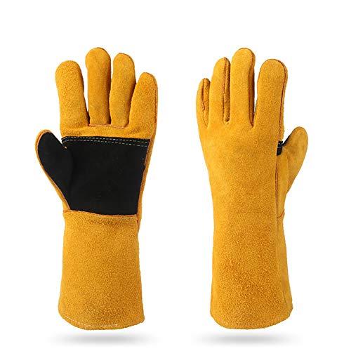 4. Guantes de Piel Resistentes al Calor y al Fuego con Costuras de Kevlar