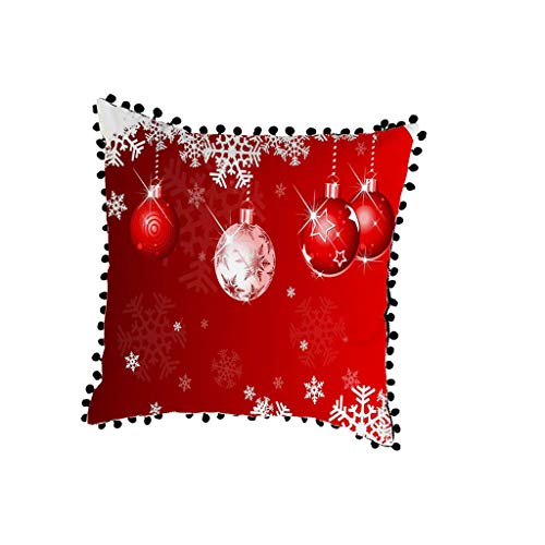 LEEDY Christmas Sofa Pillow Case Cushion Cover Decorative Covers With Pom Trim for Home Bedroom Sofa Office Decor Supplies, 18x18