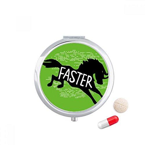 DIYthinker Zwart Paard Dier Silhouette Natuurlijke Reizen Pocket Pill Case Medicine Drug Opbergdoos Dispenser Spiegel Gift