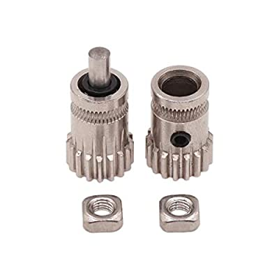 WINSINN Dual Gear For Btech Extruder Prusa i3 MK2 MK3 Drive Wheel For cr-10 cr-10s cr10s ender 3 3D Printer 1.75mm filament - Stainless Steel 5mm Bore 17 Tooth Modulus 0.5 (Pack of 2Pcs)