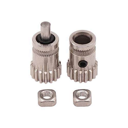 WINSINN Dual Gear Drive Wheel, Compatible with Prusa i3 MK2 MK3 Bondtech BMG Btech Extruder Cloned Bowden, Works with Creality Ender 3 5 CR10 Pro CR-10 3D Printer 1.75mm Filament (Pack of 2Pcs)