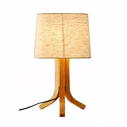 uus Lampe de table bois tissu chambre chevet lampe E27 ampoule base 30 * 46cm (économie d'énergie A +) (Couleur : Warm light30*46cm)