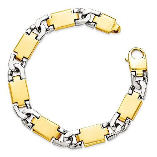 14k Two Tone 10.9mm Gold Link Bracelet 9 Inch Chain Fancy H Men Fine Jewellery For Dad Mens Gifts For Him