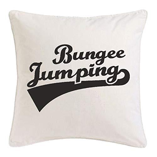 Reifen-Markt Kissenbezug 40x40cm Bungee Jumping - BUNGEESPRUNG - Bungee Seil - Bungee GUTSCHEIN - Bungee Springer aus Mikrofaser in Weiß