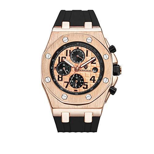 Smartwatches,Mode-Silikon-DREI-Augen-wasserdichte Automatische Mechanische Uhr Goldene Rosennudeln Rose