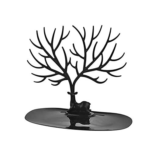 Jinrong Joyero Organizador,Joyeros Mujer Organizador Pantalla de joyería Soporte Tray Tree Racks Almacenamiento Pendientes Rojos Collar Anillo Joyería Organizador Holder Make Up Decor (Color : Black)