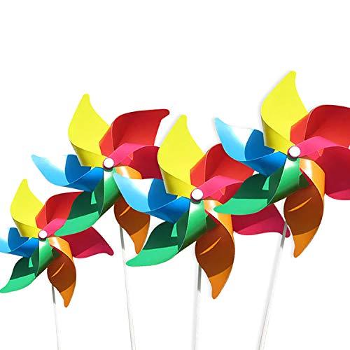(4 por Paquete) Molinos de Viento de Colores como Regalos para Que los niños jueguen, o como una decoración para Jardines de Infantes, Jardines, Cuartos de niños, Fiestas o vitrinas