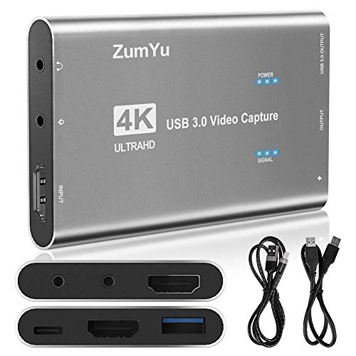 ZumYu Video Capture Card 4K 60FPS HDMI USB3.0 HD Game Capture Card Device, Game Live Streaming Video/Audio Recorder Box Device for PS4, Nintendo Switch, Xbox Series &Wii