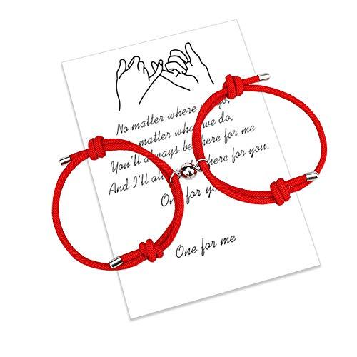 Braccialetti di coppia di attrazione reciproca magnetica 2 pezzi Braccialetti di corrispondenza intrecciati con corda fatta a mano Regalo fidanzato fidanzato (2PCS Red)