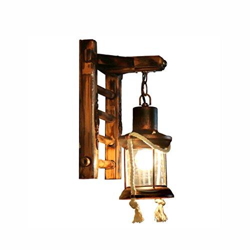 Luminaire Applique Murale Retro Style Chinois en Bois Massif - Antique Iron Art Applique Créative Restaurant Loft Balcon Light - Style Asiatique du Sud Est E27 Lampe Nostalgia Bambou [Sans Source lumi