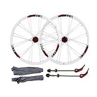26インチ自転車ホイールセット、マウンテンバイク ディスクブレーキ クイックリリース フラットバナー サイクリングホイールホイールハブ (Color : White red)