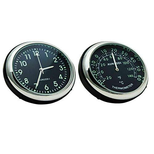 Termómetro automático con clip luminoso y reloj, reloj de cuarzo automático de acero, para tablero de instrumentos de mesa, temperatura de adorno