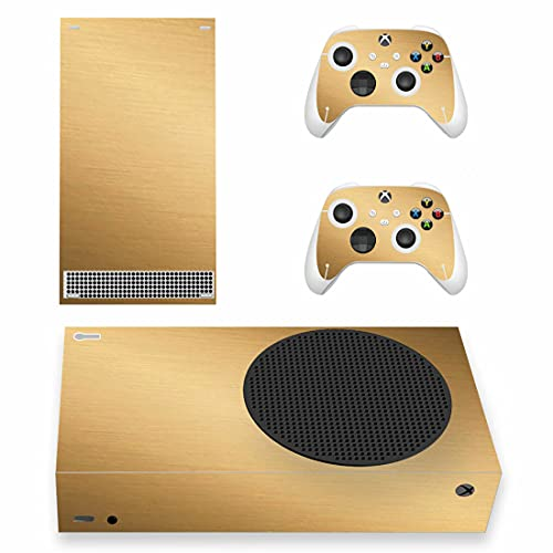 Xbox Series S Gun Metal Gold Skin Wrap Decal Vinyl Sticker Faceplate - Console and 2 Controllers - Protective Cover New SERIES S