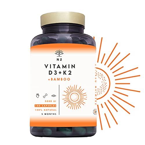 Vitamine D3 K2 Dosage Élevé Naturelle - Vitamine D3 5000 iu + Vitamine K2 MK7 200μg + Silicium Contribue au Fonctionnement Système Immunitaire les Os et les Dents 150 Capsules N2 Natural Nutrition