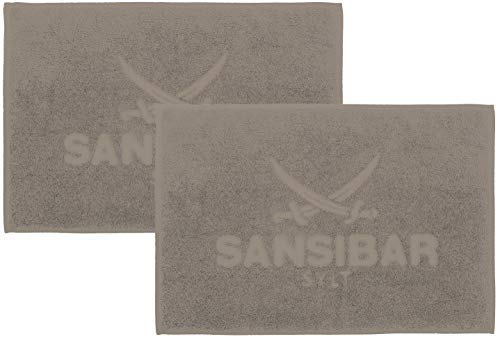 Sansibar Badvorleger 2er Set 50x80 cm 100% Baumwolle Fein-Flor Badteppich Badematte Taupe