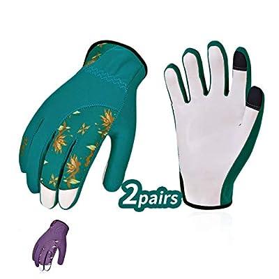 Vgo 2Pairs Ladies' Goatskin Leather Gardening Gloves(Size L,Blue&Purple,GA7454)
