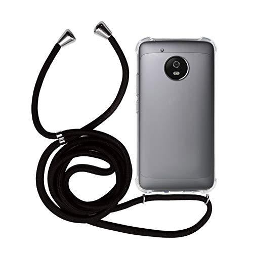 MyGadget Handykette für Motorola Moto G5 TPU Hülle mit Band - Handyhülle mit Handyband zum Umhängen Kordel Schnur Case Schutzhülle - Schwarz