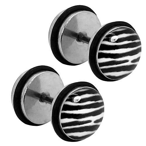 Tumundo® 1 Paar Fake-Plugs Ohrstecker Ohr-Piercing Fussball Leo Zebra Karo Farbe Animalprint Muster Tunnel Edelstahl, Variante:Modell 5