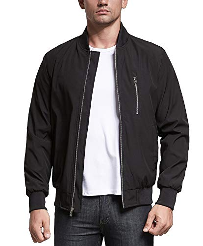 Uownsclo Men's Jacket Lightweight Casual Flight Bomber Jacket Spring Fall Coat Outwear(XX-Large,Black)