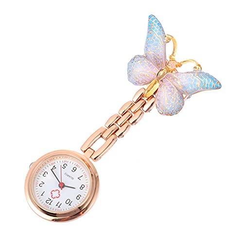 NICERIO Mariposas Reloj de Enfermera Pin- On Reloj de Solapa Colgante Enfermera Reloj de Bolsillo Insignia Relojes Broche Reloj para Doctor Enfermera Fácil de Leer
