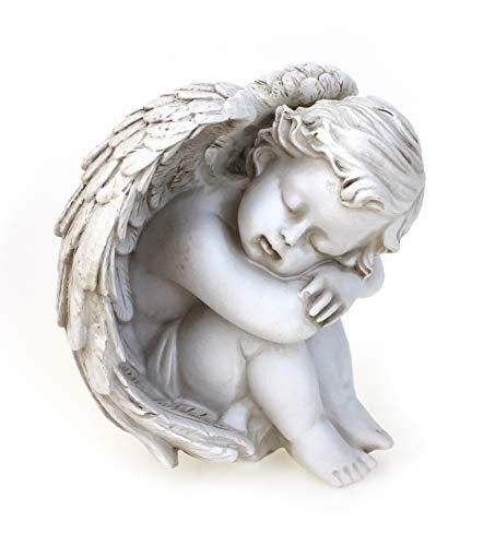 Deko Engel Figur Sitzend Schlafend 12 cm, Polystein Antik Weiß Altweiß, Schöne Engelfigur Schutzengel Engelkind Dekoengel Engelchen Träumend