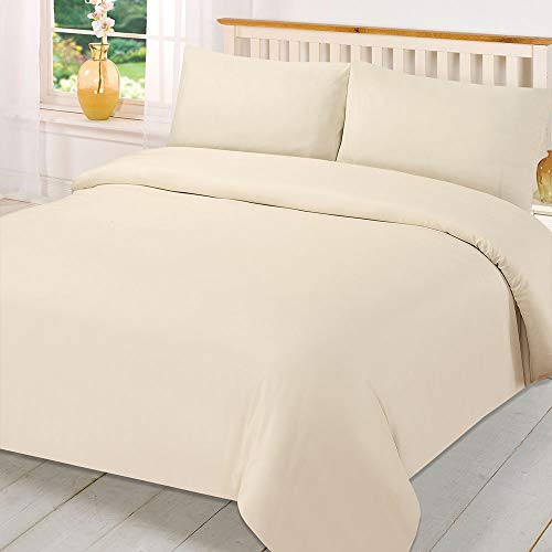 mFabrics Poly-Cotton Duvet Quilt Cover Set - Easy Care, Machine Washable - Single Double King Super King - Pillowcase Included (Cream, King)