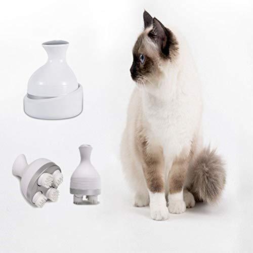POPETPOP Pet Elettrico Testa massaggiatore USB Ricarica Gatto massaggiatori omnidirezionale Rotazione Automatica Divertente Morbido Giocattolo Portatile per Gatti Cani-Bianco