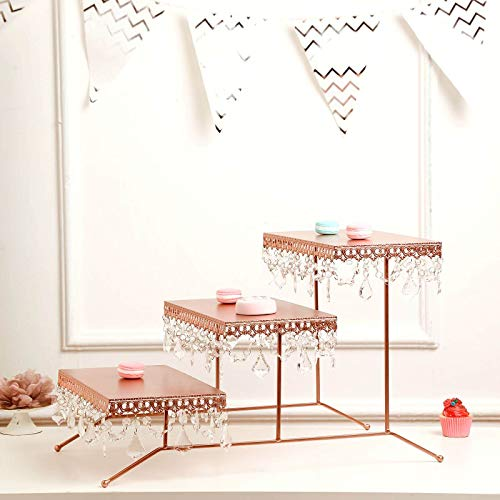 Tableclothsfactory 15' Tall ROSE GOLD 3 Tiered Serving Stand Cupcake Dessert Stand With Crystal Pendants