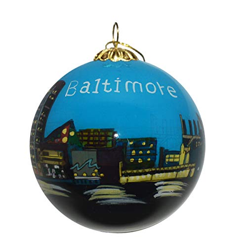 Art Studio Company Hand Painted Glass Christmas Ornament - Baltimore Skyline