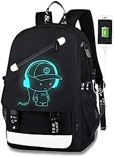 Luminous Backpack Boys,Lumcissy Anime School Bag,Unisex Fashion Laptop Backpack wth USB Charging Port