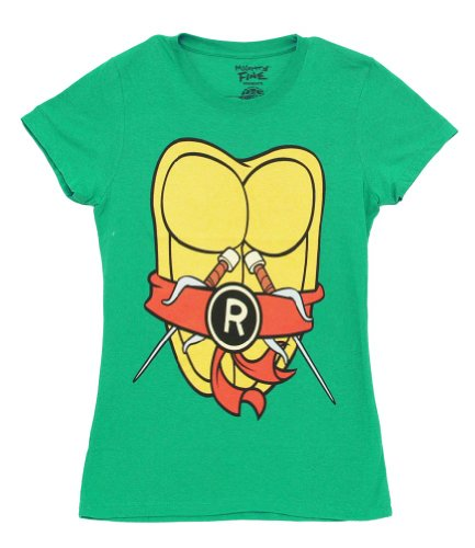 Teenage Mutant Ninja Turtles TMNT Costume Green Juniors T-Shirt Tee (Large, Rot Raphael)
