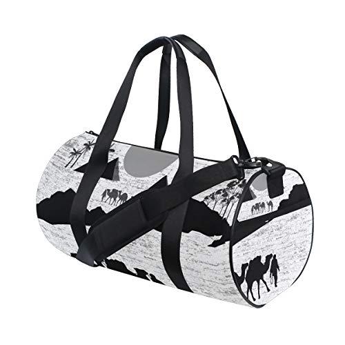 ZOMOY Sporttasche,Beduinische Kamel Wohnwagen Wilde Afrika Landschaft,Neue Druckzylinder Sporttasche Fitness Taschen Reisetasche Gepäck Leinwand Handtasche