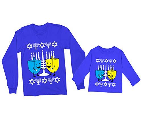 Haase Unlimited Happy Dreidels Hanukkah Ugly Long Sleeve Kid's T-Shirt (5T, Royal Blue)