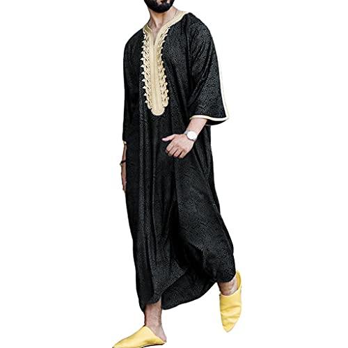 SXLLZSLC Hombres Togas Musulmanas Sabana de Algodon Vestido Oriente Medio Arabia Saudita Kaftan Islámico Abaya Camisa Masculina M-4XL