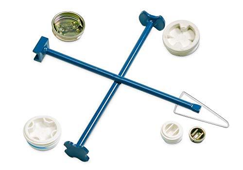 DENIOS Kreuz-Fassschlüssel aus Stahl, lackiert, zum Öffnen der gängigsten Fassverschlüsse nach dem Radkreuz-Prinzip