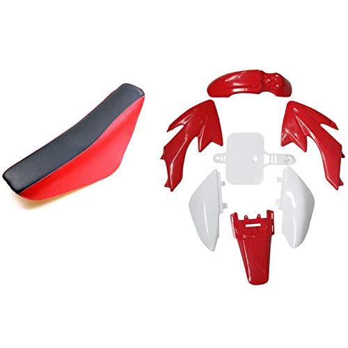 Exanko Guardabarros y Pegatinas de PláStico y Asiento Rojo para CRF50 110Cc 125Cc Pit Bicileta Todoterreno