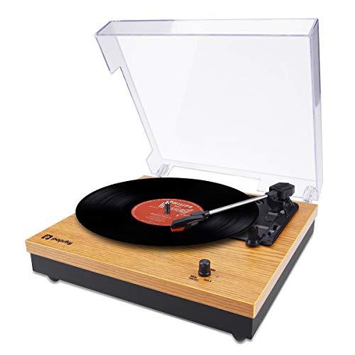 Popsky レコードプレーヤー 33/45/78回転対応 スピーカー 内蔵 ビニール台付き RCA音声出力端子 天然木制