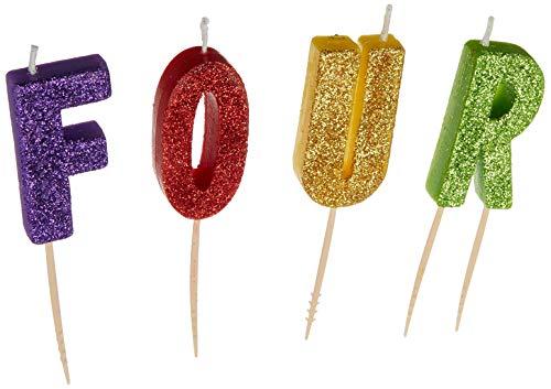 'F-O-U-R' Glitter Birthday Candles | Party Supply