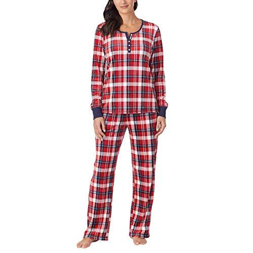Nautica Womens 2 Piece Fleece Pajama Sleepwear Set (Small, Red White Plaid)