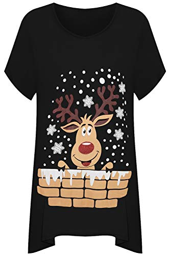 WearAll Women's Plus Short Sleeve Reindeer Snowflake Hanky Hem Long Top Ladies T-Shirt - Black - 22-24