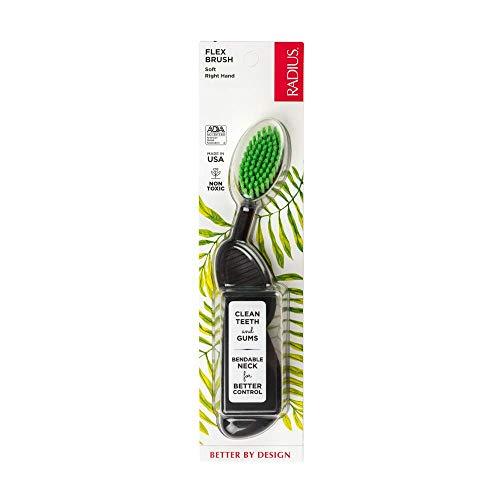 Cepillo de dientes Radius, mano derecha, negro/verde, sin BPA y aceptado ADA, diseñado para mejorar la salud de las encías y reducir el riesgo de enfermedad de las encías