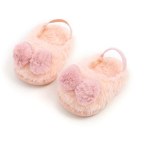 Baby Girls Sandals Faux Fur Slides with Elastic Back Strap Flats Toddler Infant Prewalker Winter Shoes Slippers (6-12 Months, Pink)