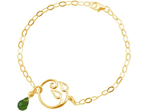 Gemshine - Pulsera - Plata de Ley chapada en Oro de 18 quilates - Hojas de la Vid - Olivina - Lágrima - Gota - Verde - YOGA